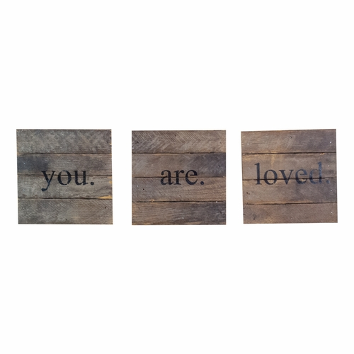 "You Are Loved 6"" x 6"" 3 pc Wall Art - Dark - Second Nature By Hand"