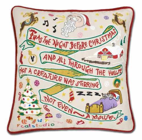 Night Before Christmas XL Hand-Embroidered Pillow by Catstudio (Special Order)