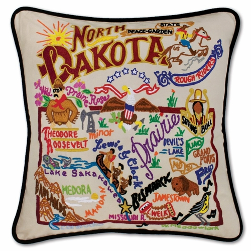North Dakota XL Hand-Embroidered Pillow by Catstudio (Special Order)