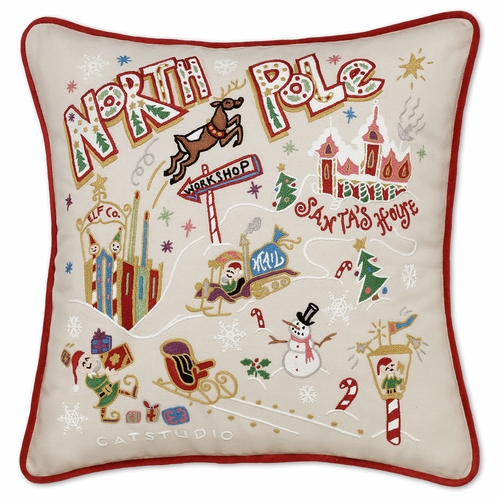 North Pole XL Hand-Embroidered Pillow by Catstudio (Special Order)