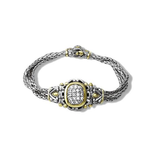 Nouveau Simplicity Pave Antique Oval Center Bracelet by John Medeiros