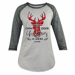 Oh Deer Christmas is Here Gray Simply Faithful Long Sleeve Tee by Simply Southern