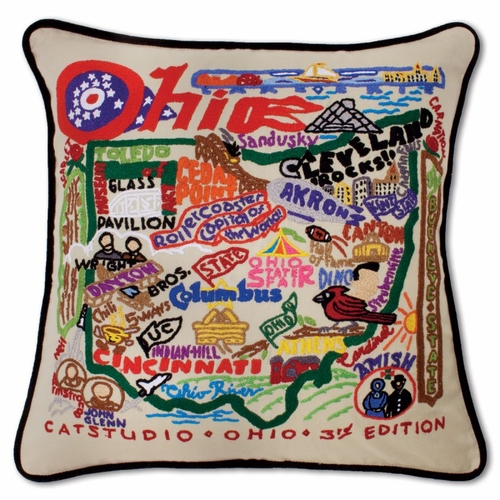 Ohio XL Hand-Embroidered Pillow by Catstudio (Special Order)