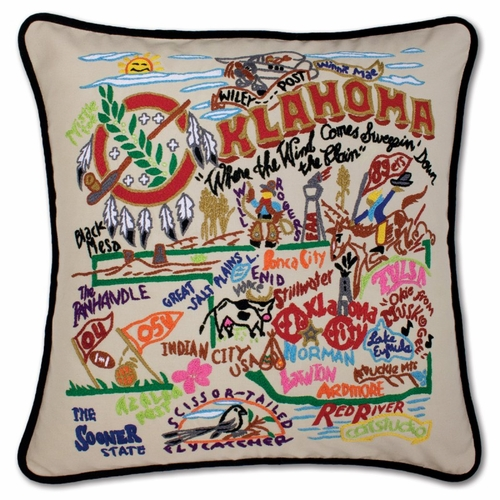 Oklahoma XL Hand-Embroidered Pillow by Catstudio (Special Order)