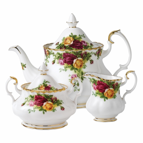 Old Country Roses 3-Piece Teapot Set by Royal Albert - Special Order
