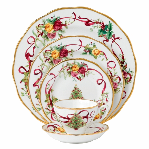 Old Country Roses Christmas Tree 5-Piece Place Setting by Royal Albert