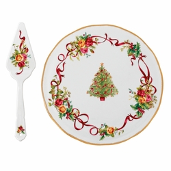 Old Country Roses Christmas Tree Cake Plate & Server by Royal Albert