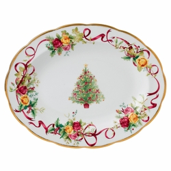 Old Country Roses Christmas Tree Medium Oval Platter by Royal Albert