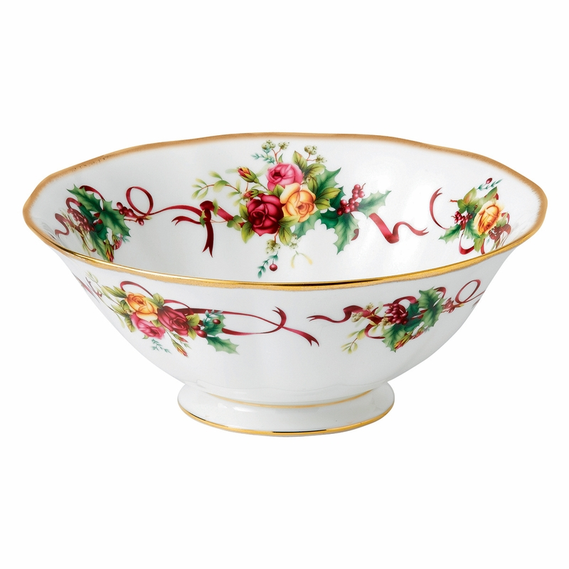 Old Country Roses Christmas Tree Serving Bowl By Royal Albert