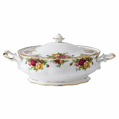 Old Country Roses Covered Vegetable Dish by Royal Albert - Special Order