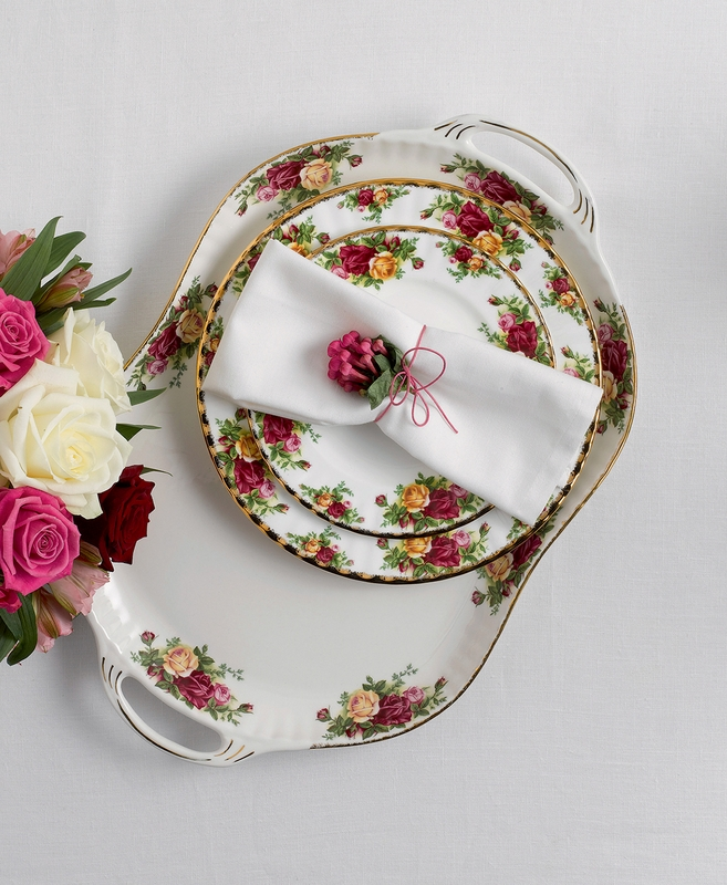 Old Country Roses Handled Serving Platter By Royal Albert