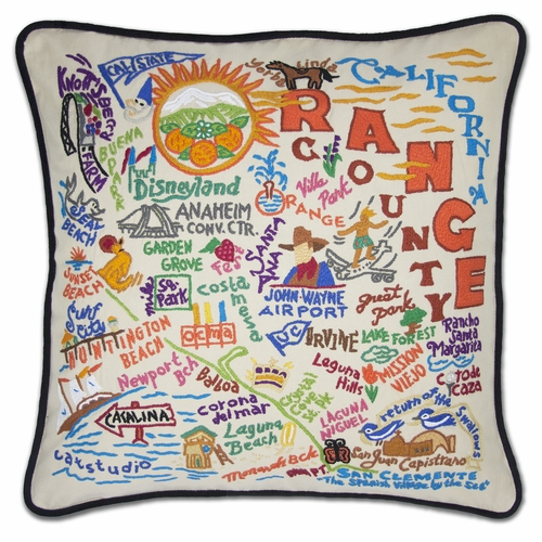 Orange County XL Hand-Embroidered Pillow by Catstudio (Special Order)