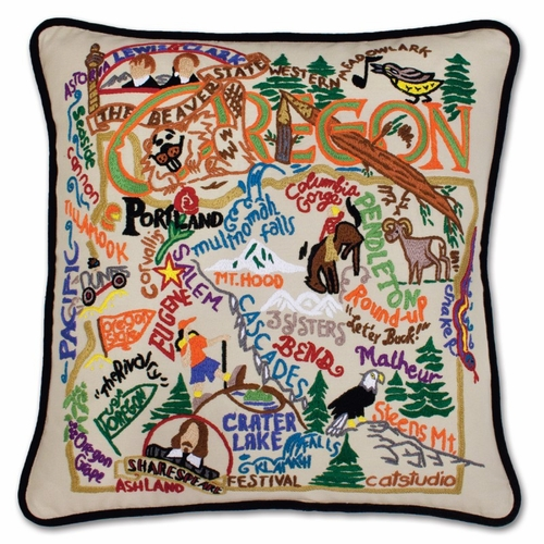 Oregon XL Hand-Embroidered Pillow by Catstudio (Special Order)