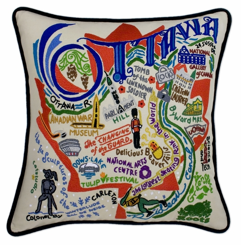 Ottawa XL Hand-Embroidered Pillow by Catstudio (Special Order)