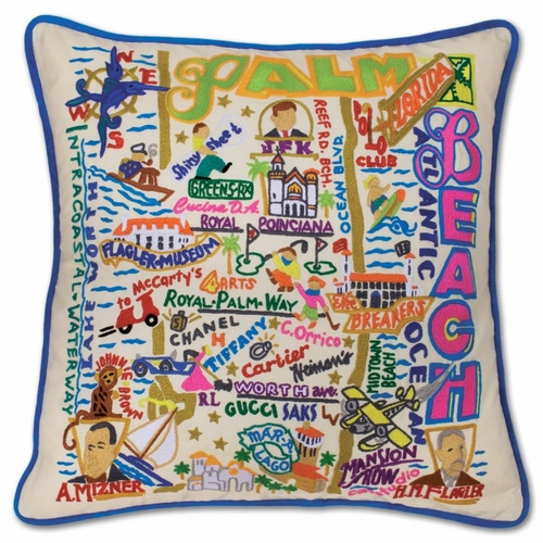 Palm Beach XL Hand-Embroidered Pillow by Catstudio (Special Order)