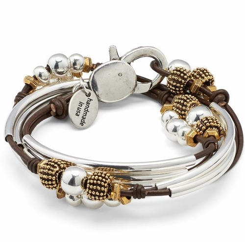 Paris Metallic Chocolate Medium Bracelet by Lizzy James