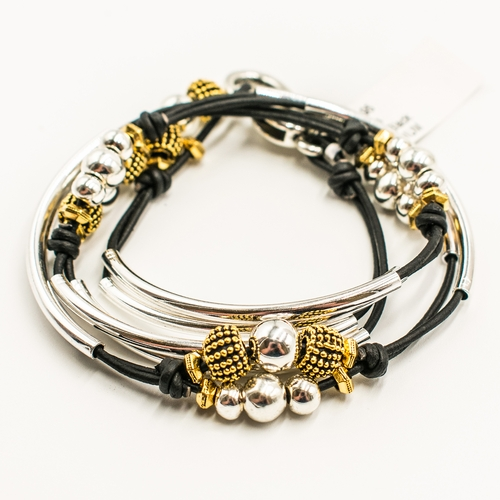 Paris Natural Black Medium Bracelet by Lizzy James