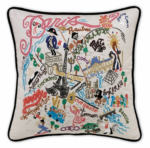 Paris XL Hand-Embroidered Pillow by Catstudio (Special Order)