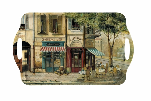 Parisian Scenes Large Melamine Handled Tray by Pimpernel