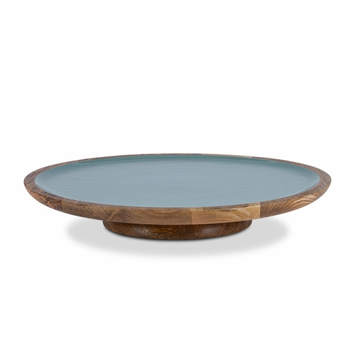 Pearl Blue Enamel Mango Wood Lazy Susan  - GG Collection (Special Order)