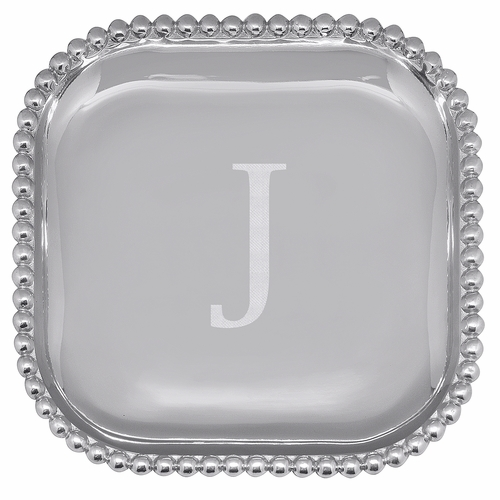 """Pearled Square Platter - Engraved """"J"""" by Mariposa"""