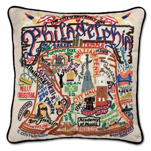 Philadelphia XL Hand-Embroidered Pillow by Catstudio (Special Order)