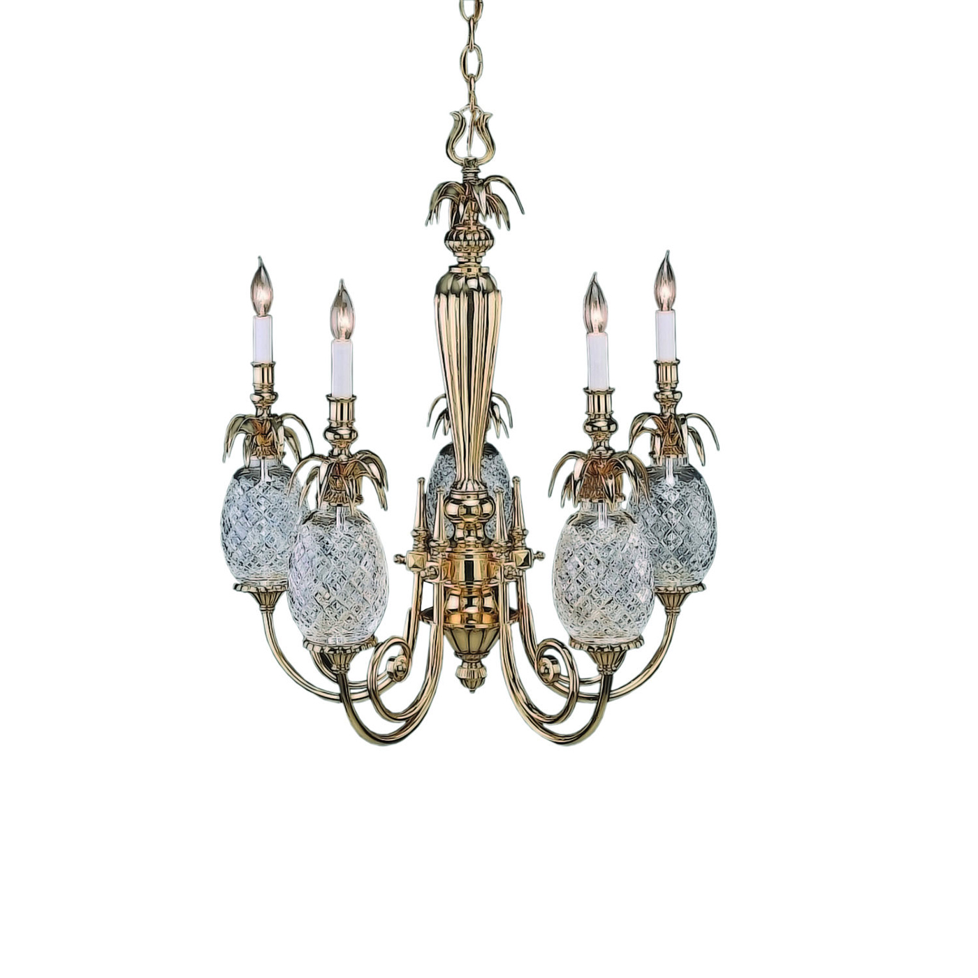 Pineapple hospitality 5 arm chandelier by waterford arubaitofo Image collections