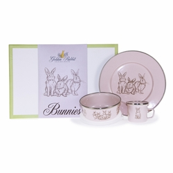 Pink Bunnies 3-Piece Child Gift Set by Golden Rabbit