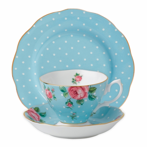 Polka Blue 3-Piece Teacup Set by Royal Albert