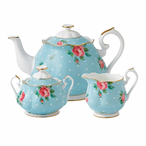 Polka Blue 3-Piece Teapot Set by Royal Albert - Special Order