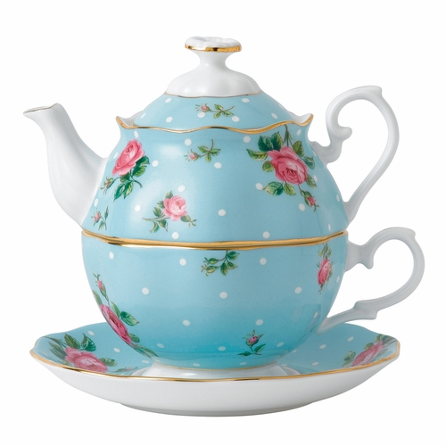 Polka Blue Tea For One by Royal Albert - Special Order