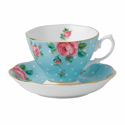 Polka Blue Teacup & Saucer Set by Royal Albert - Special Order