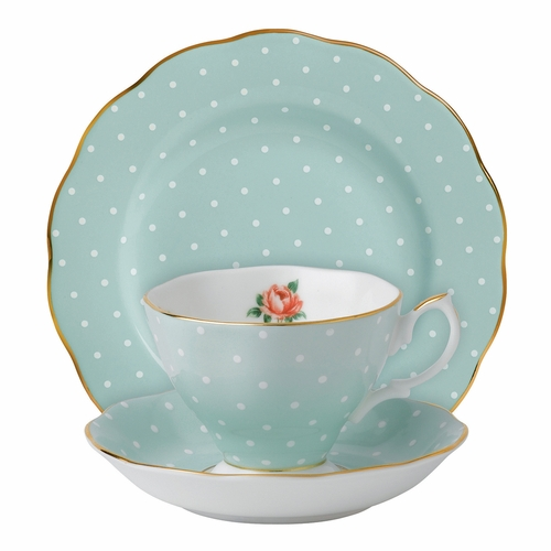 Polka Rose 3-Piece Teacup Set by Royal Albert - Special Order