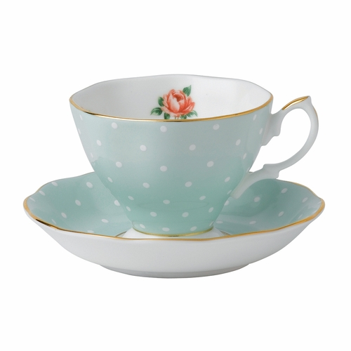 Polka Rose Teacup & Saucer Set by Royal Albert - Special Order