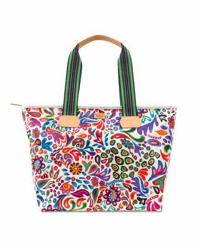 White Swirly Legacy Zipper Tote by Consuela