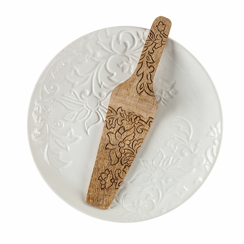 Etched Floral White Stoneware Serving Plate & Mango Wood Server