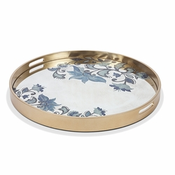 Etched Floral Large Mirror Tray Grand Pattern - GG Collection