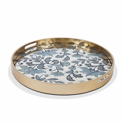 Etched Floral Medium Mirror Tray Grand Pattern - GG Collection