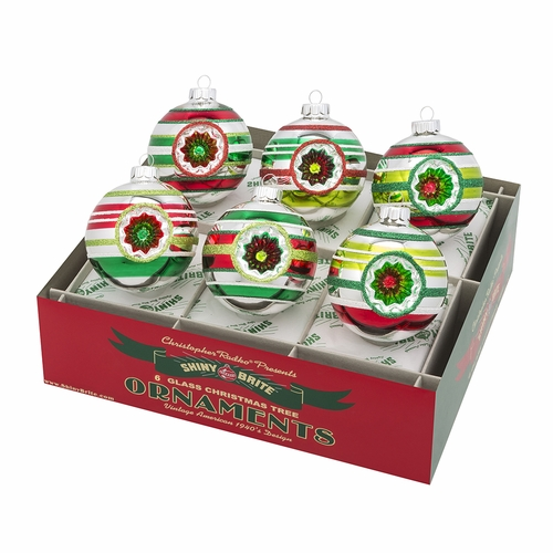 "Holiday Splendor 3.25"" Decorated Rounds with Reflectors (Set of 6) by Christopher Radko"