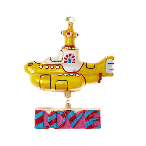 Yellow Submarine with Love Ornament by Christopher Radko