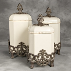 Provencial Cream Canister Set w/ Metal Base - GG Collection