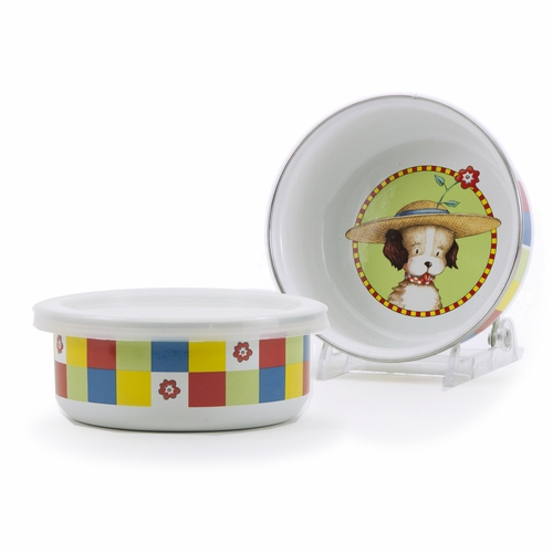 Puppy Child Bowl with Lid by Golden Rabbit