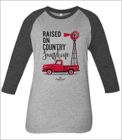 Raised on Country Sunshine Heather Grey Country Chick Long Sleeve Teeby Simply Southern
