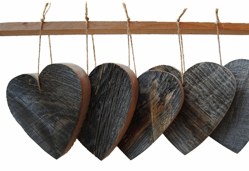 Reclaimed Wood Heart Ornaments (Set of 6) by Sugarboo Designs
