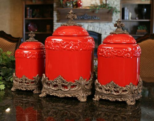 Red Large Ceramic Canister Set