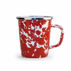 Set of 4 - Red Swirl 16 oz. Latte Mug by Golden Rabbit