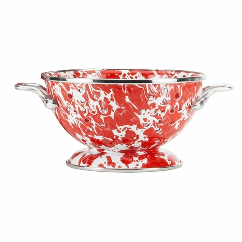 Red Swirl Petite Colander by Golden Rabbit