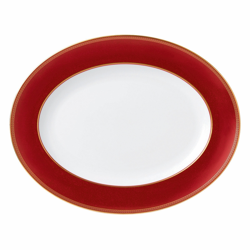 Renaissance Red Oval Platter By Wedgwood