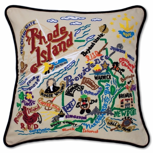 Rhode Island XL Hand-Embroidered Pillow by Catstudio (Special Order)