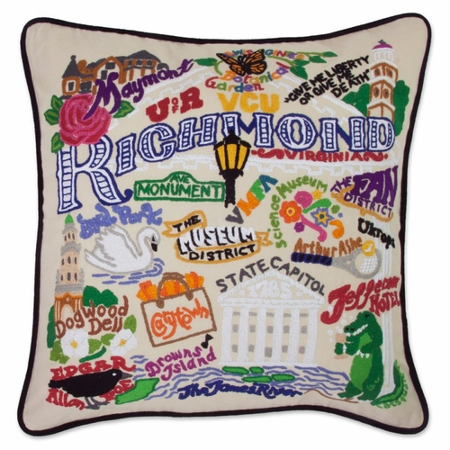Richmond XL Hand-Embroidered Pillow by Catstudio (Special Order)